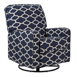 PRI Sutton Fabirc Swivel Glider Recliner in Ocean