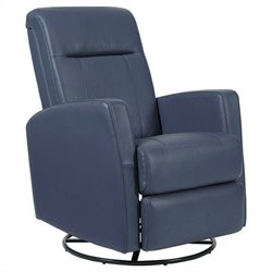 PRI Harper Fabirc Swivel Glider Recliner in Grape Rehide