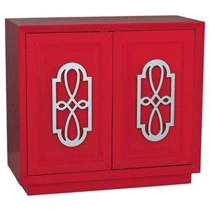 PRI Mitchel Fretwork Door Accent Chest in Red and Silver