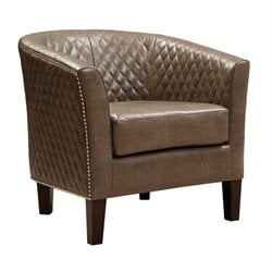 PRI Leather Accent Chair in Brown
