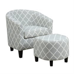 PRI Fabric Accent Chair with Ottoman in Light Blue