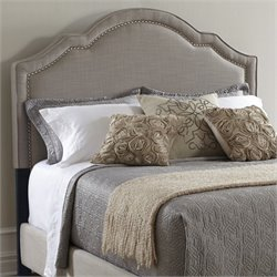 PRI Upholstered Nailhead King Headboard in Taupe