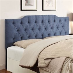 PRI Tufted Upholstered Headboard in Denim - Full-Queen