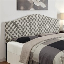 PRI Fabric Upholstered Headboard in Grey - Full-Queen