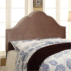 PRI Glam Velvet Upholstered Nailhead Headboard in Chrome - Queen