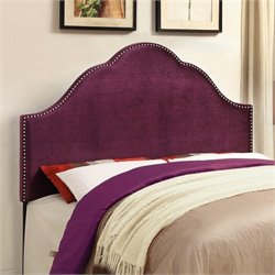 PRI Glam Velvet Upholstered Nailhead Headboard in Purple - Queen