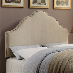 PRI Glam Fabric Upholstered Nailhead Headboard in Oatmeal - King