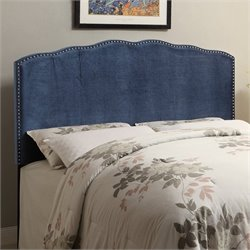PRI Velvet Upholstered Nailhead Headboard in Indigo - Queen
