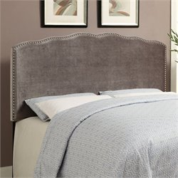 PRI Velvet Upholstered Nailhead Headboard in Silver - Queen