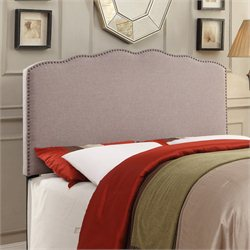 PRI Fabric Upholstered Nailhead Headboard in Hayden Silver - Queen