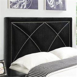 PRI Velvet Upholstered X Nailhead Headboard in Black - King