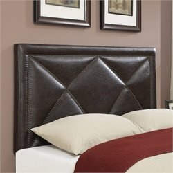 PRI Leather Upholstered X Nailhead Headboard in Brown - Queen