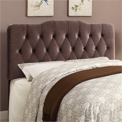 PRI Velvet Upholstered Soft Shape Headboard in Slate - Queen