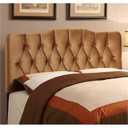 PRI King Velvet Upholstered Soft Shape Headboard in Bronze