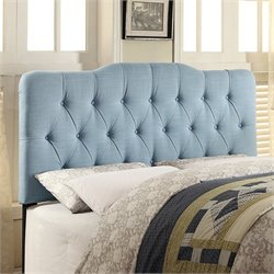 PRI Fabric Upholstered Soft Shape Headboard in Light Blue - Queen