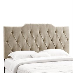 PRI Fabric Tufted Panel King California King Headboard in Tan