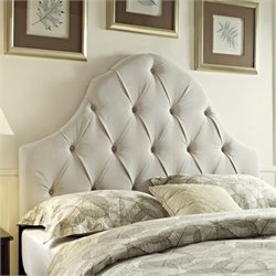PRI Fabric Tufted Round Top King California King Headboard in Taupe