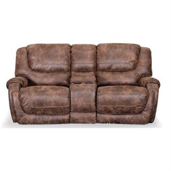 Barcalounger Vincent II Power Reclining Console Loveseat in Chestnut