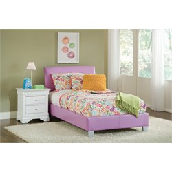 Bernards Youth Faux Leather Upholstered Twin Bed in Lavender
