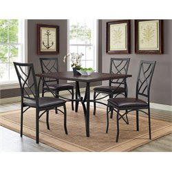 Bernards Sanford 5 Piece Dining Set in Merlot