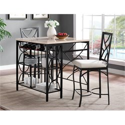 Bernards 3 Piece Kitchen Island Pub Set