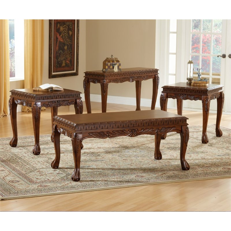 Bernards 3 piece deluxe carved coffee table set in cherry for 3 piece living room table sets