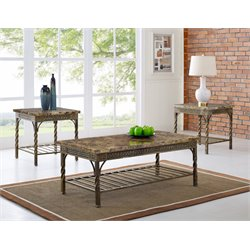 Bernards Madison 3 Piece Coffee Table Set in Faux Marble