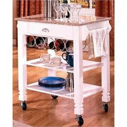 Bernards Marble Kitchen Island in White