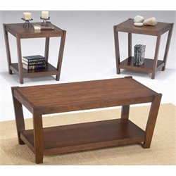 Bernards 3 Piece Coffee Table Set in Warm Brown