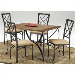 Bernards Sanford 5 Piece Dinette in Wood and Metal