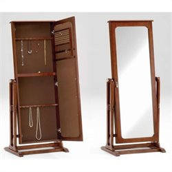 Bernards Jewelry Armoire and Mirror in Cherry Finish