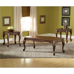 Bernards Carved Cherry 3 Piece Coffee Table Set