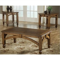 Bernards 3 Piece Coffee Table Set in Brown Cherry