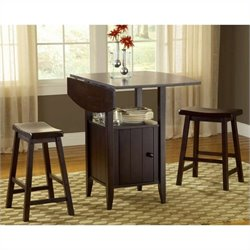 Bernards 3-Piece Pub Set with Two Stools in Espresso