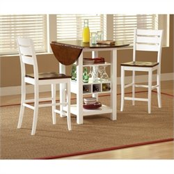 Bernards Ridgewood Drop Leaf Table and Wine Rack in Mahogany and White