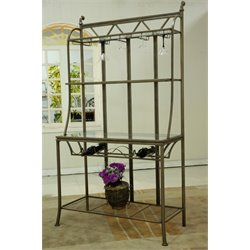 Chintaly Tempered Glass Bakers Rack in Matt Bronze