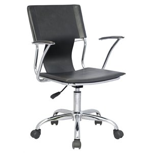 Chintaly Swivel Pneumatic Office Chair in Chrome and Black