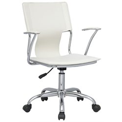 Chintaly Swivel Pneumatic Office Chair in Chrome and White