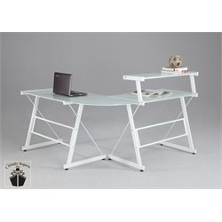Chintaly L Shape Home Office Desk with Upper Shelf in White