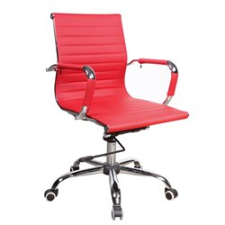 Chintaly Upholstered Back Office Chair in Red