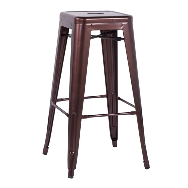 Chintaly Galvanized Steel Bar Stool In Red Copper 8015