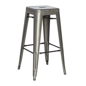 Chintaly Galvanized Steel Counter Stool in Gun Metal