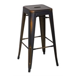 Chintaly Galvanized Steel Bar Stool in Antique Copper