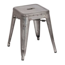 Chintaly Galvanized Steel Side Chair in Gun Metal