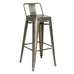 Chintaly Galvanized Steel Bar Stool in Gun Metal