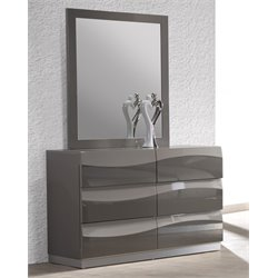 Chintaly 6 Large Drawer Dresser in Gloss Gray