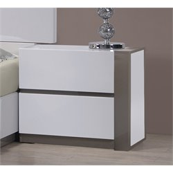 Chintaly Right 2 Drawer Nightstand in Gloss White and Gray