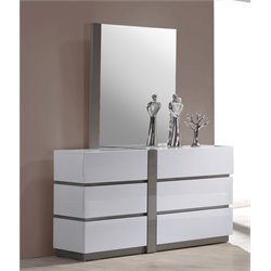 Chintaly 6 Large Drawer Dresser in Gloss White and Gray