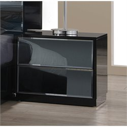 Chintaly 2 Drawers Nightstand in High Gloss Black