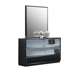 Chintaly 6 Drawers Dresser with Mirror in Gloss Black